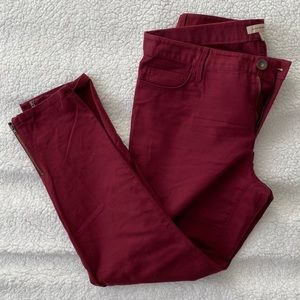 NWOT Banana Republic Deep Red Ankle Zipper Pants